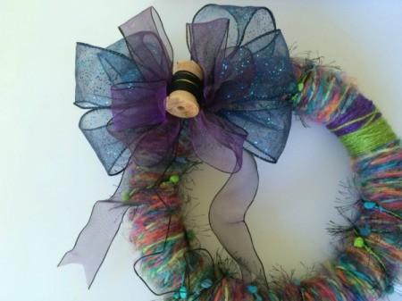 add bow to wreath