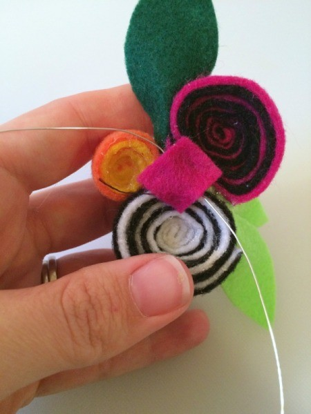 attach wire to flowers