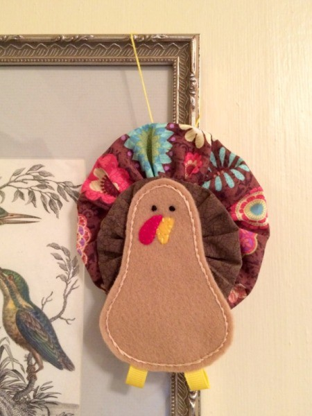 Fabric Yo Yo Turkey ornament