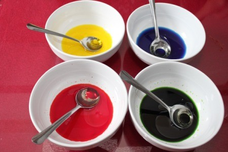 oil and food coloring