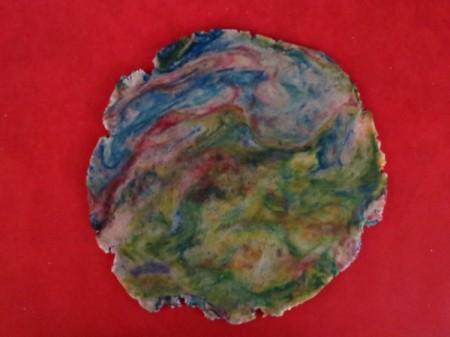 food colors mixed into dough