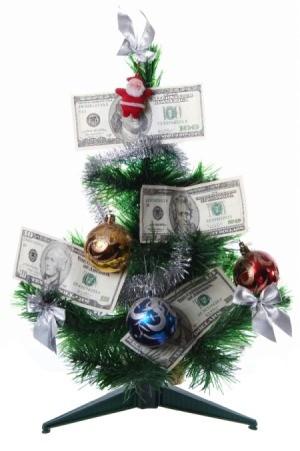 Christmas tree with money