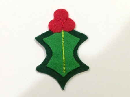 Felt Holly Ornament