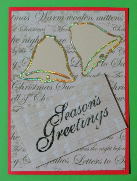 bells and greetings added to card face