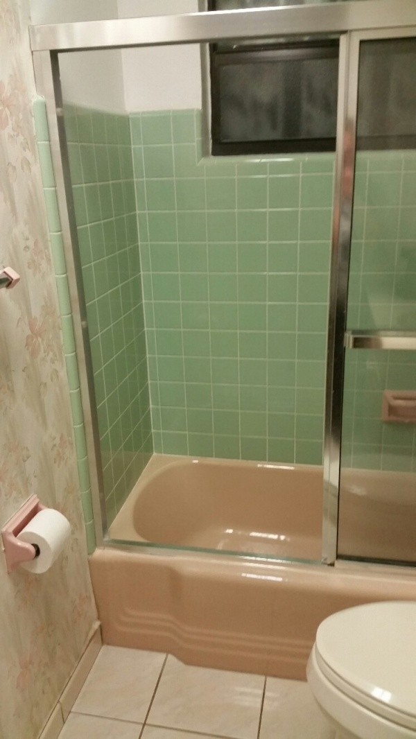 closeup of tub and shower