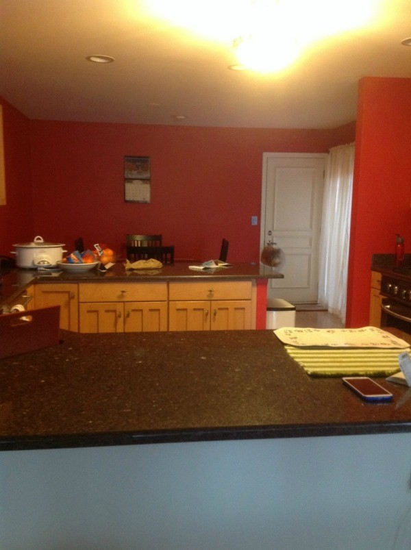 red wall across countertop