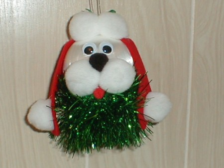 An ornament of a Christmas Dog
