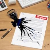 spilled ink on document