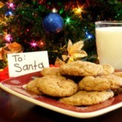 A plate of cookies and milk for Santa