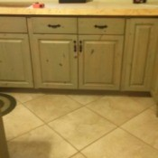 cabinets, wall, and floor tile