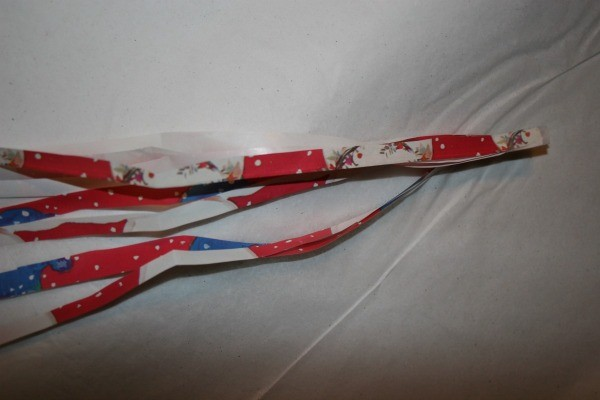 Strips attached to be made into a bow