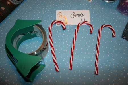 Supplies for candy cane place cards