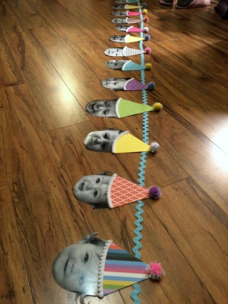 Baby Faces Birthday Banner - arrange faces on rick rack
