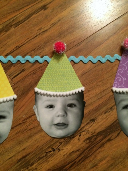 Baby Faces Birthday Banner - attach faces to rick rack
