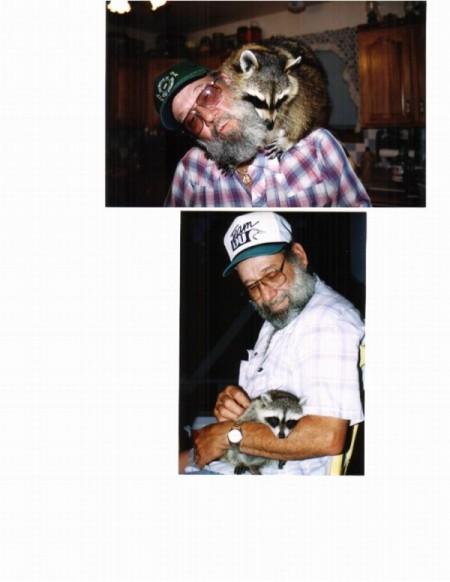 man holding baby raccoon and raccoon on man's shoulders