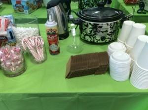 items at a hot chocolate bar