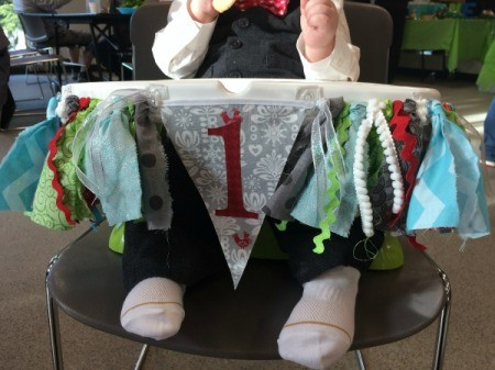 finished banner on highchair