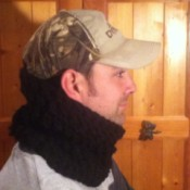 side view of husband wearing cowl