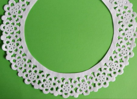 lace part of doily removed