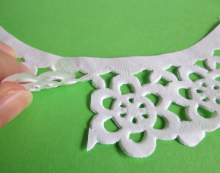 snipping doily lace