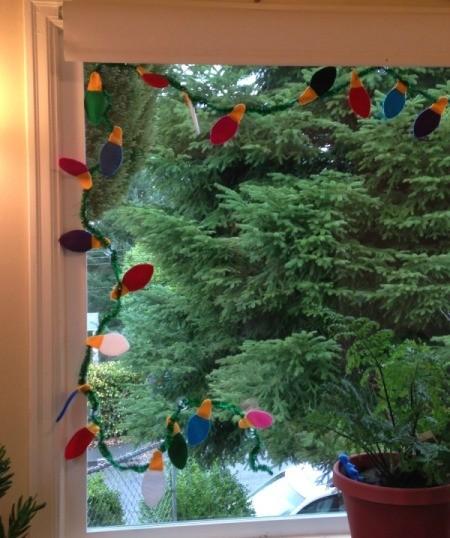 closeup of garland in window top corner