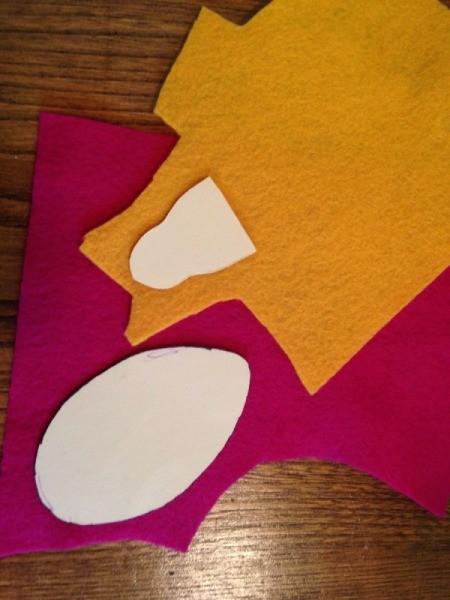 templates stuck to felt pieces