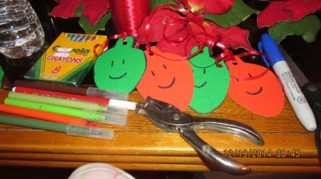 smiley face bulbs and decorating supplies