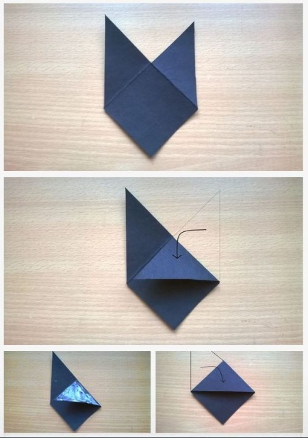 Paper being folded into a corner bookmark.
