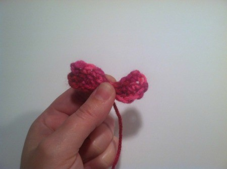 pinch into bow shape