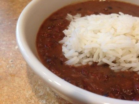 bowl of Cuban black bean soup with rice