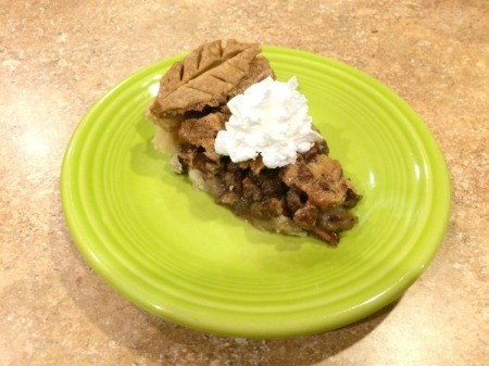 Southern Pecan Pie - slice of pie with whipped cream