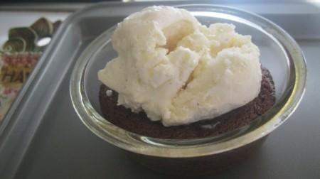 cake with ice cream