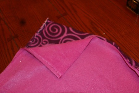 First Sewing Project: Fleece Blanket - fleece with right sides together and pin