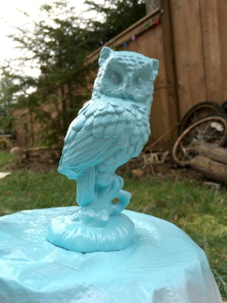 painting small owl 2nd coat of paint
