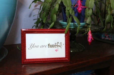 frame on bookshelf