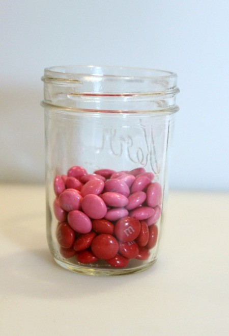dark pink candy in jar