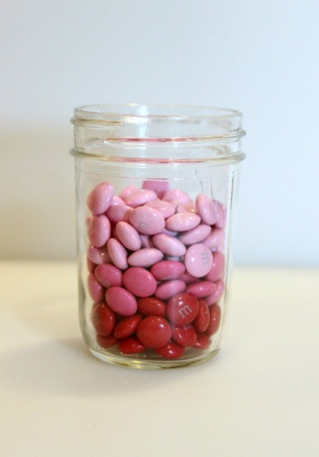 light pink candy in jar