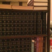 Britannica on bookshelves