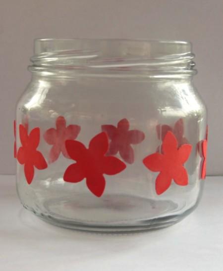 flowers stuck on jar