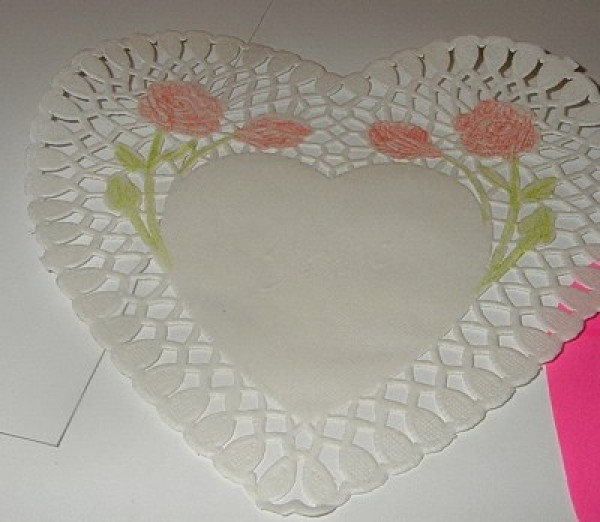 flowers on doily colored