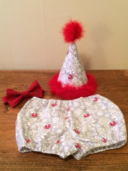 hat, diaper cover, and bow tie