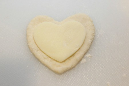 cheese heart on dough