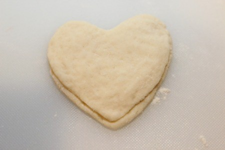 top with dough heart