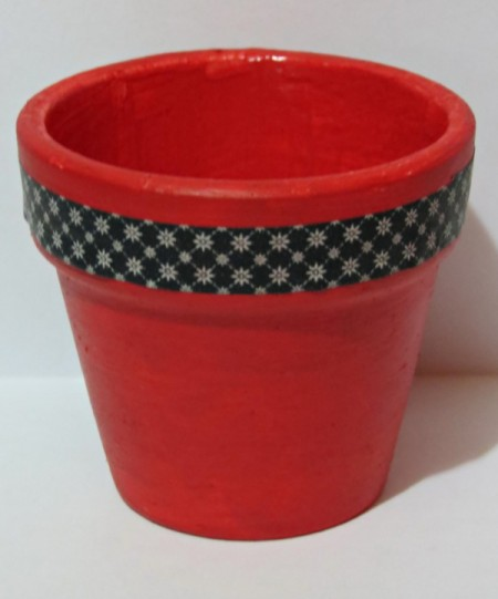 painted pot with decorative tape