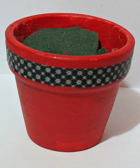 floral foam added to the pot