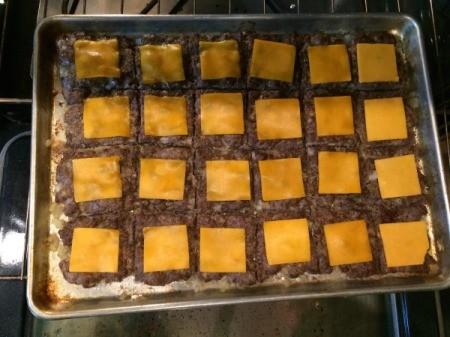 Easy Cookie Sheet Sliders - add cheese