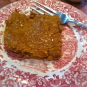 A plate with a pumpkin breakfast bar.