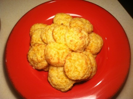 A plate of cheddar biscuits.
