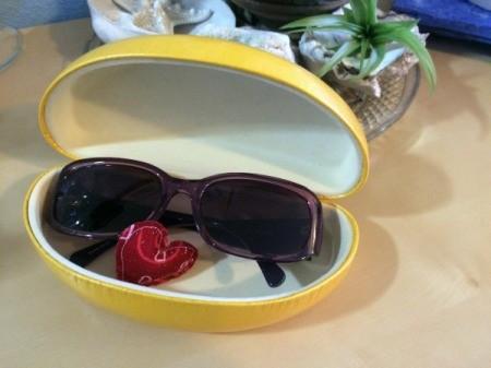 heart in eyeglass case
