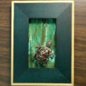 A turtle pin framed in green.